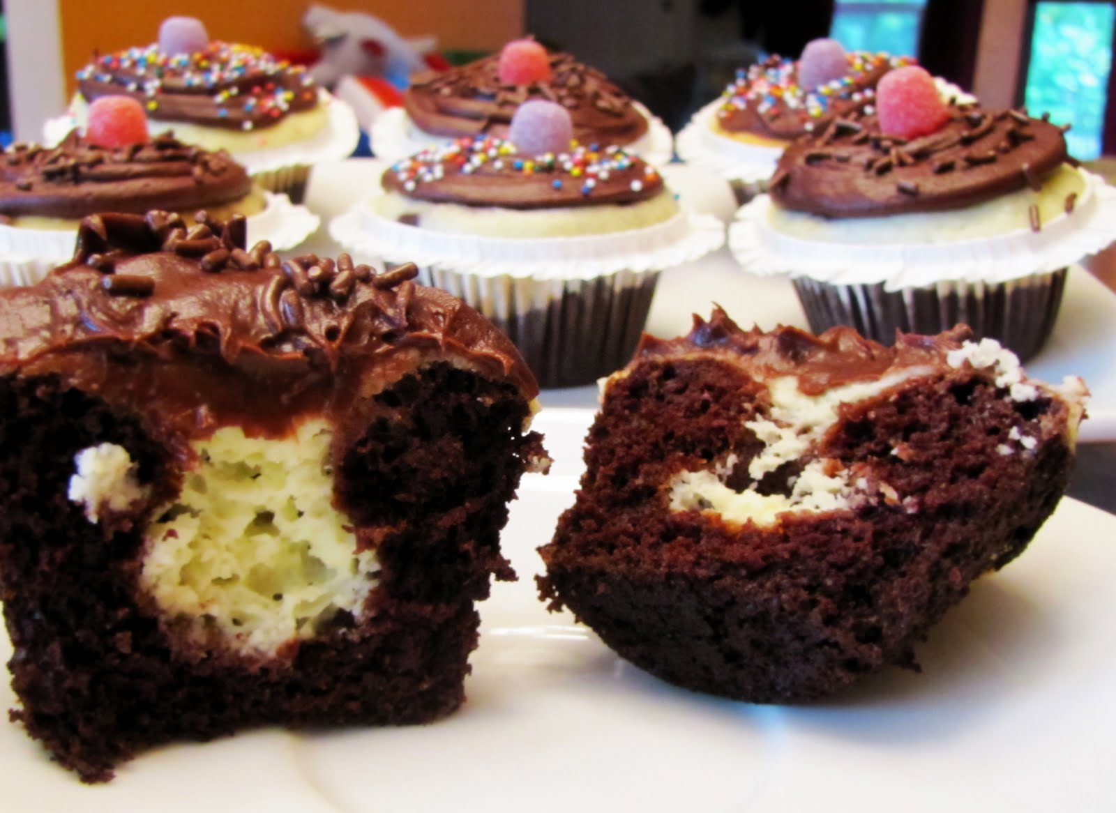 Black Bottom Cupcakes with Fudge Frosting | Rumbly in my Tumbly