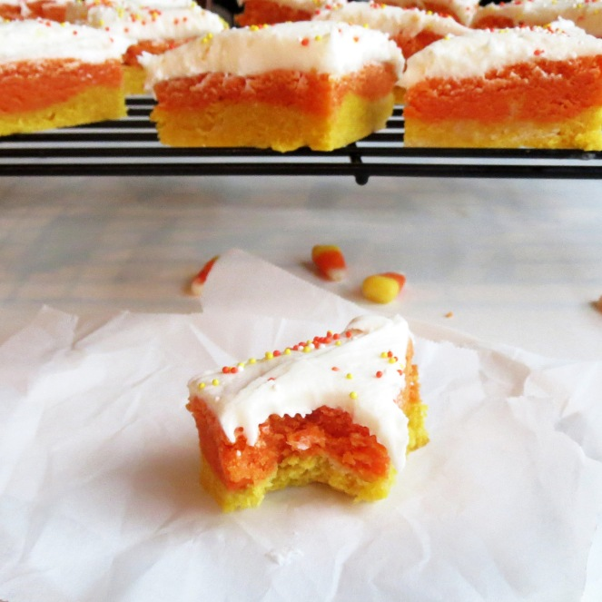 Rumbly in my Tumbly I Candy Corn Cookie Bars