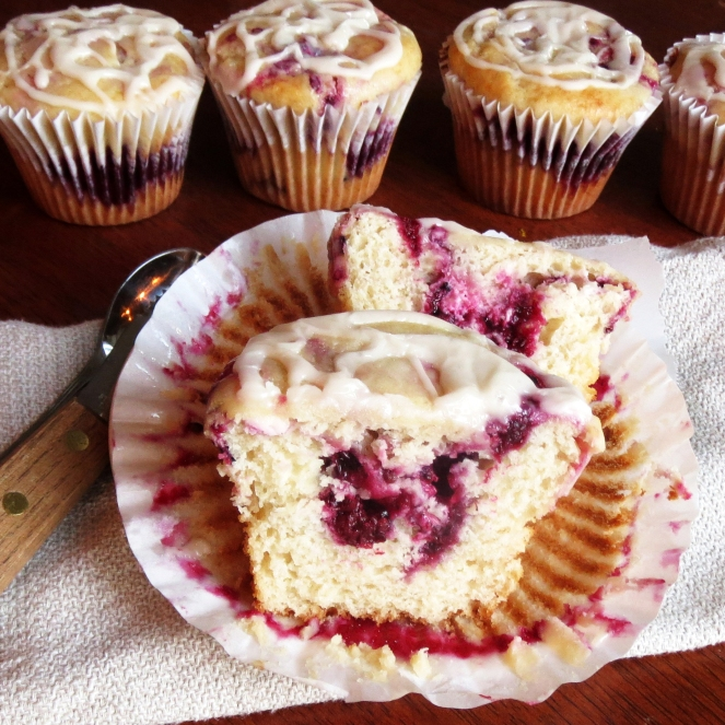 Blackberry Cream Cheese Bismark Muffins