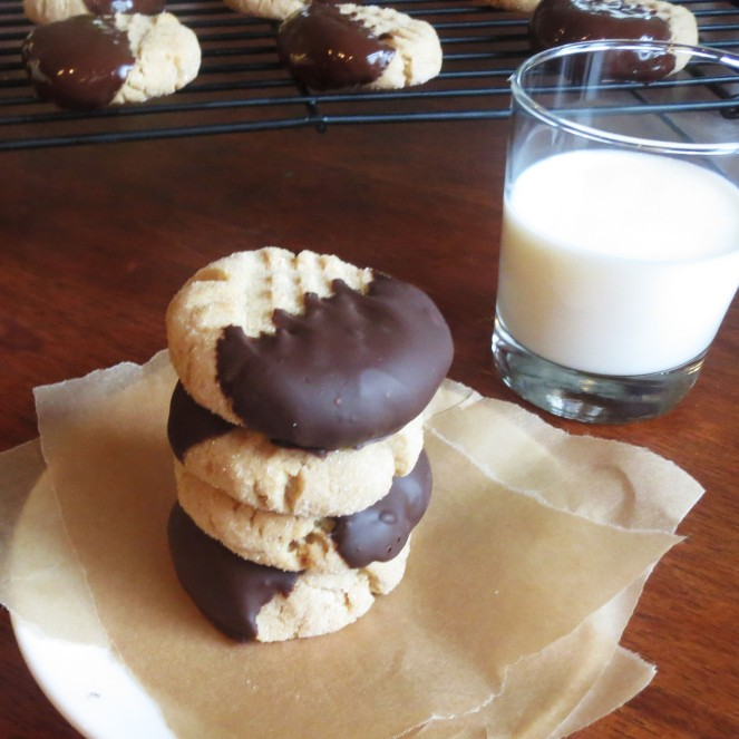 Chewy Chocolate Dipped Peanut Butter Cookies