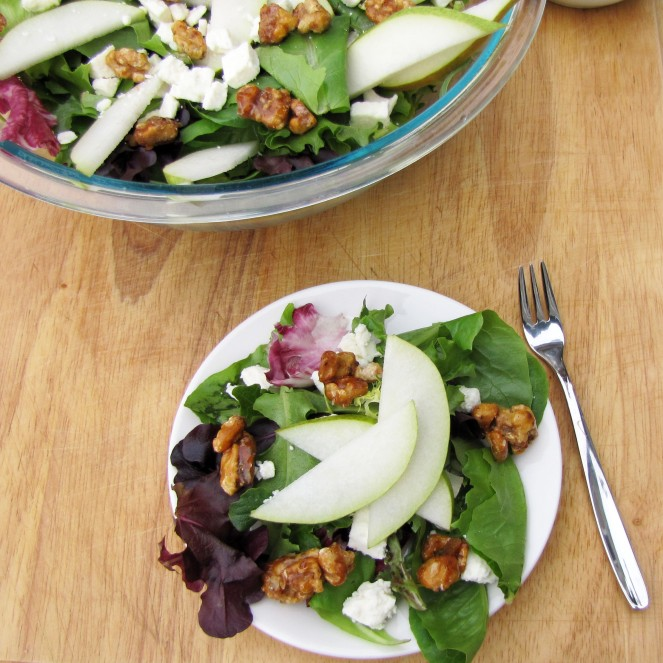Pear and Feta Salad with the BEST Homemade Salad Dressing you will ever eat. By Rumbly in my Tumbly
