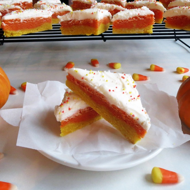 Candy Corn Sugar Cookie Bars by Rumbly in my Tumbly