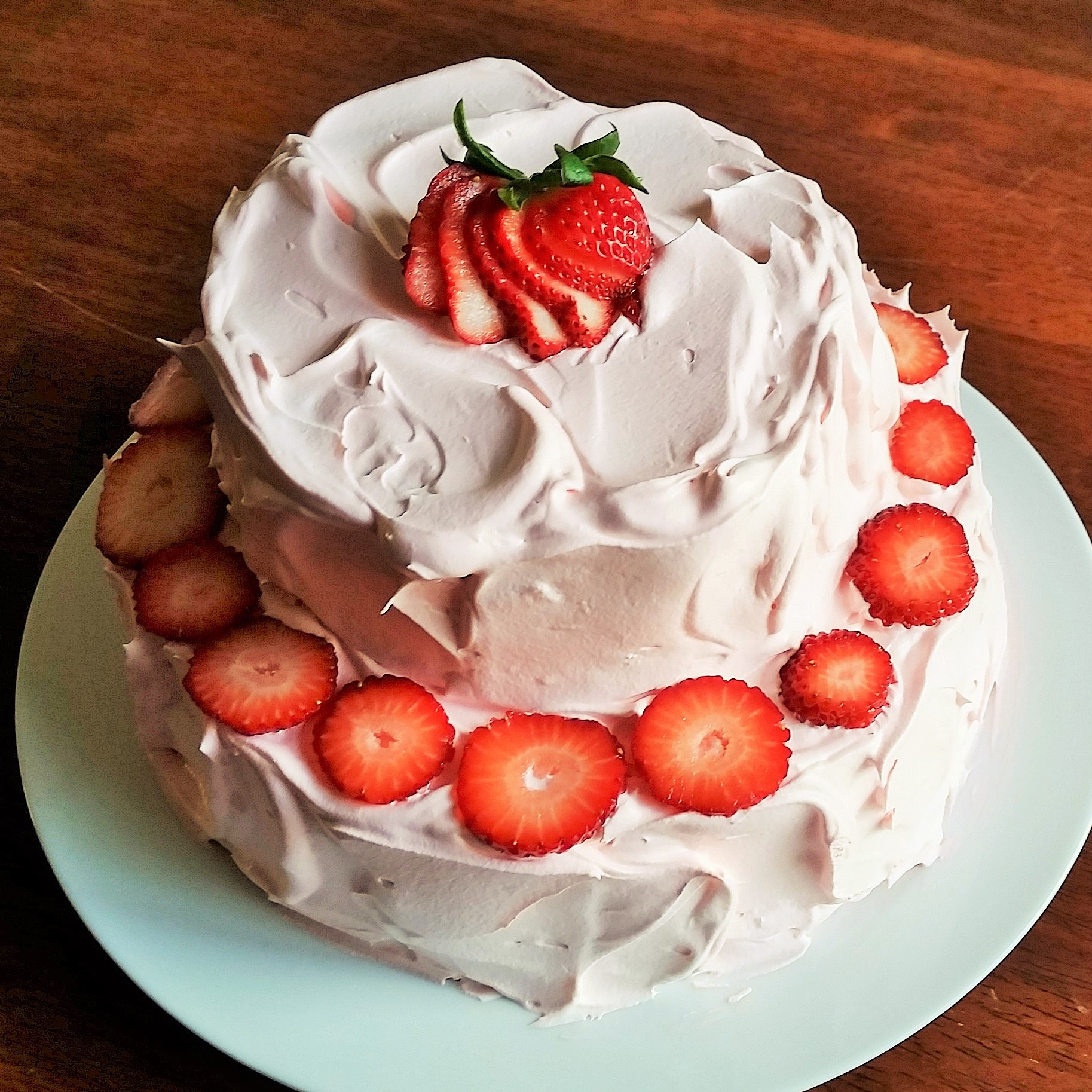 Very Fancy Strawberries And Whipped Cream Sponge Cake
