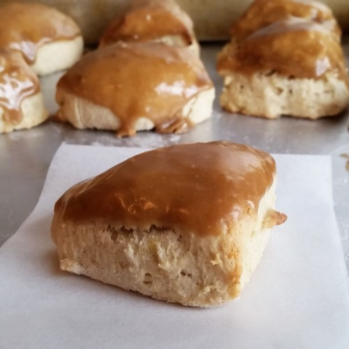 Petite Banana Bread Scones with Brown Sugar and Butter Glaze by Rumbly in my Tumbly