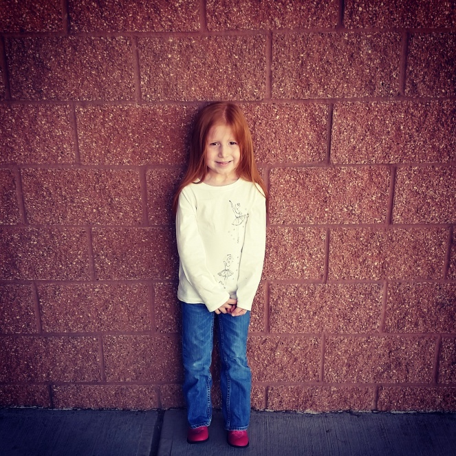 """My """"baby,"""" Daphne, at Kindergarten orientation. Sob!"""