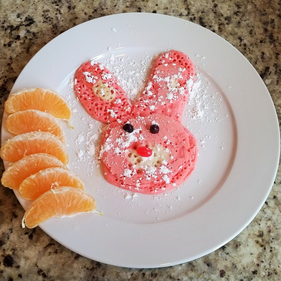 Easter Bunny Pancakes.  Simple Pleasures. By Rumbly in my Tumbly