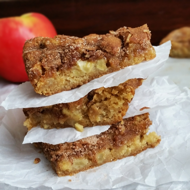 Apple Snickerdoodle Blondies by Rumbly in my Tumbly. A Hybrid between snickerdoodle cookies and apple pie.