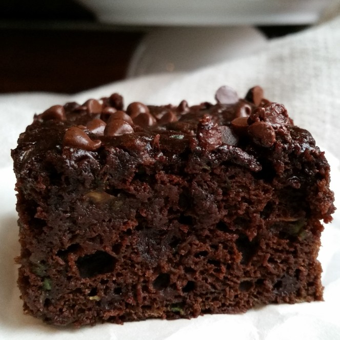 Zucchini Brownies- no oil, just bananas, applesauce, and zucchini. So yummy.