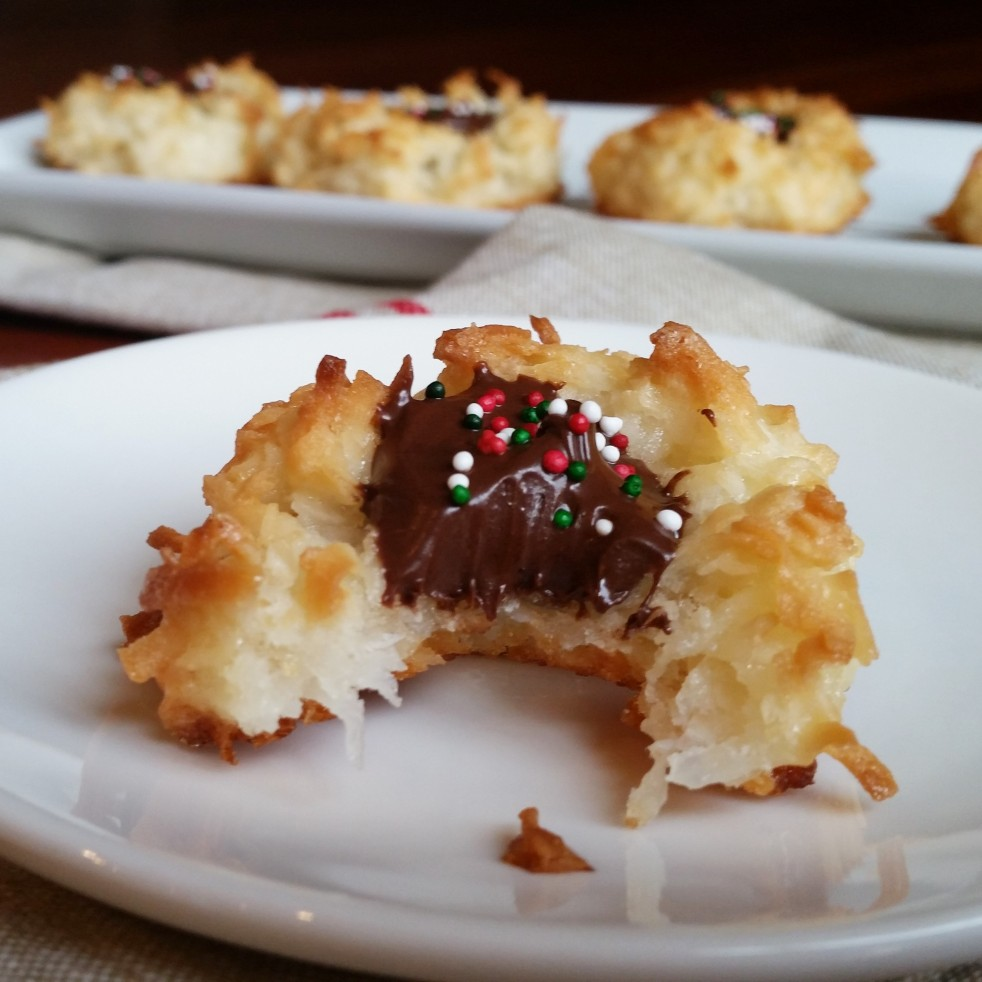 Chocolate Filled Coconut Macaroon Thumbprint Cookies by Rumbly in my Tumbly