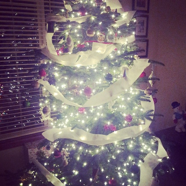 Toilet Paper'd the tree. I do this at least once a year because it's easy and the kids love it.