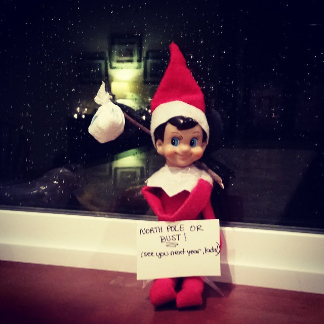 Elf Goodbye. Stick, paper towel, sign. Super easy.