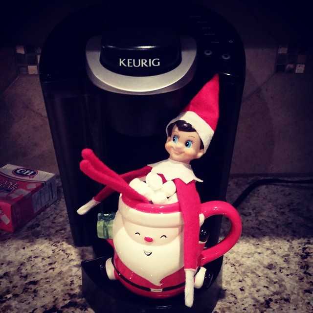 Elf, Keurig, cup, marshmallows