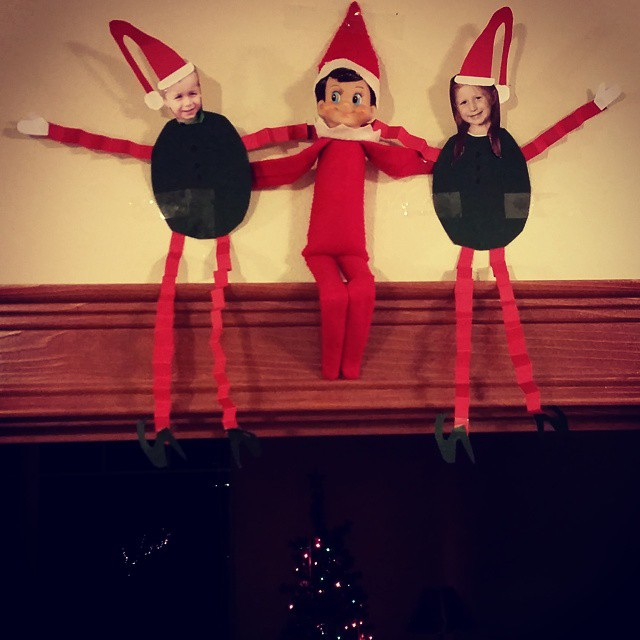 One of my more time consuming ones. Put pictures of the kid's heads on construction paper elf bodies and perched them above their bedroom door. They loved it though. Worth it.