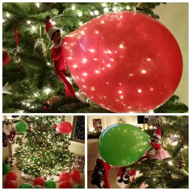 Probably this year's greatest hit. Balloons. Blew up some red and green balloons and left them all over the living room. Put the elves in the tree and secured a balloon up to each one's mouth with one of those tiny little clear rubber bands that you use on little girl's hair. (I use these a lot with EOTS)