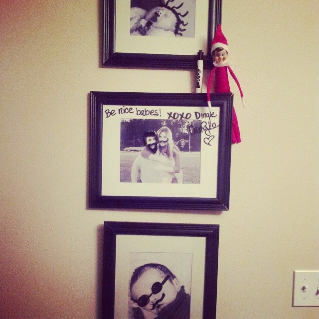 Naughty elf: Dry erase marker and pictures.