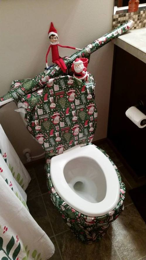 Wrapping the toilet. Easier than it looks.