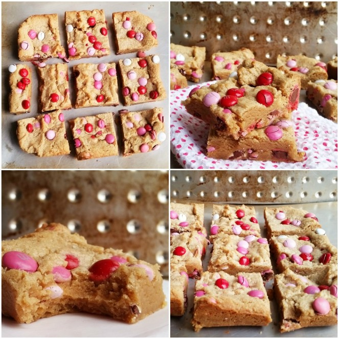 Valentine's Day Peanut Butter Blondies by Rumbly in my Tumbly