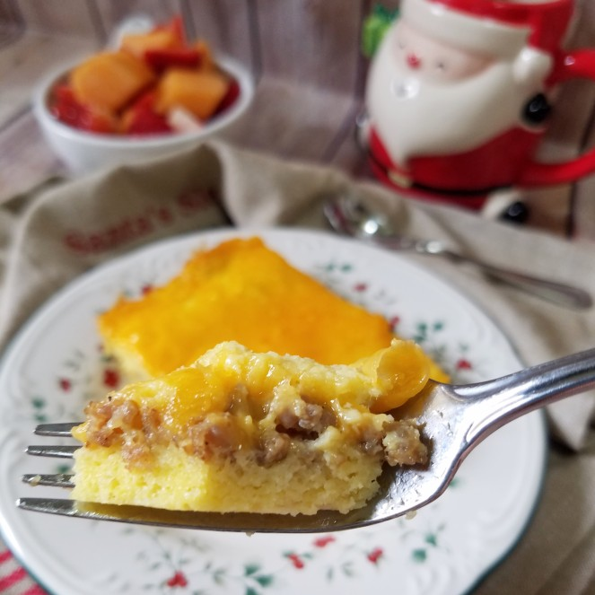 Mom's Overnight Make-Ahead Christmas Morning Breakfast Casserole with sausage, eggs, and cheese.