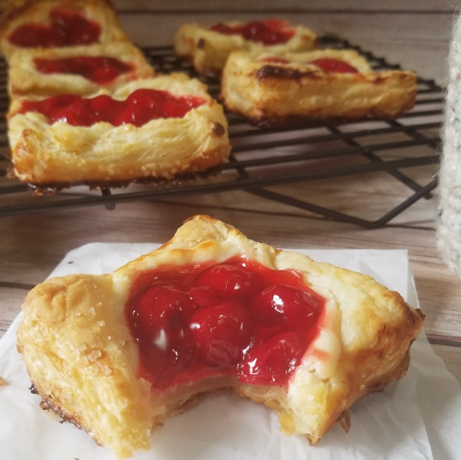 Easy Cherry Danish using frozen puff pastry.  By Rumbly in my Tumbly