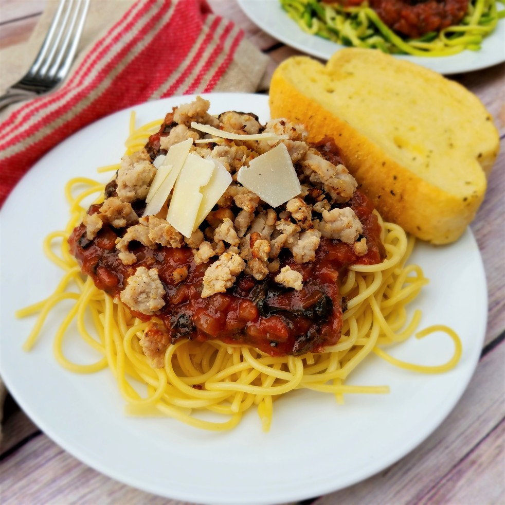 Spaghetti Marinara with Crispy Pork with zoodles or noodles