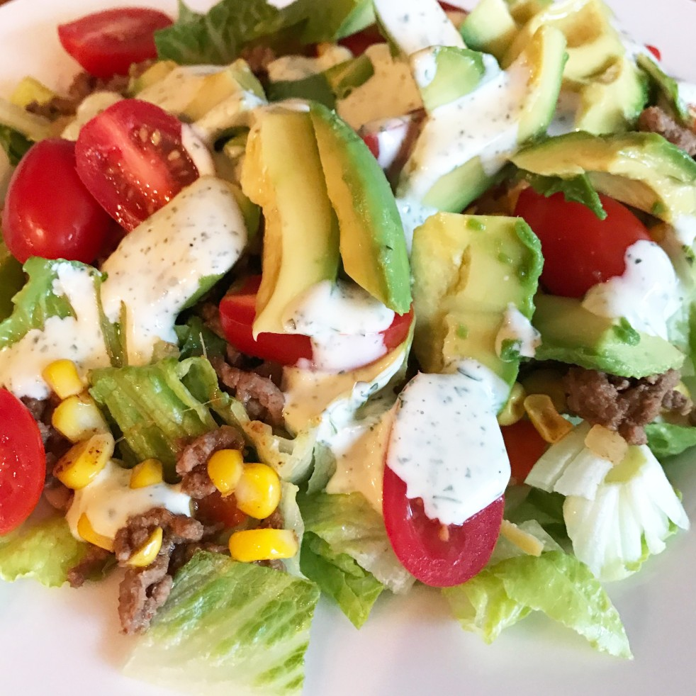 Taco Salad with Cilantro Ranch Dressing
