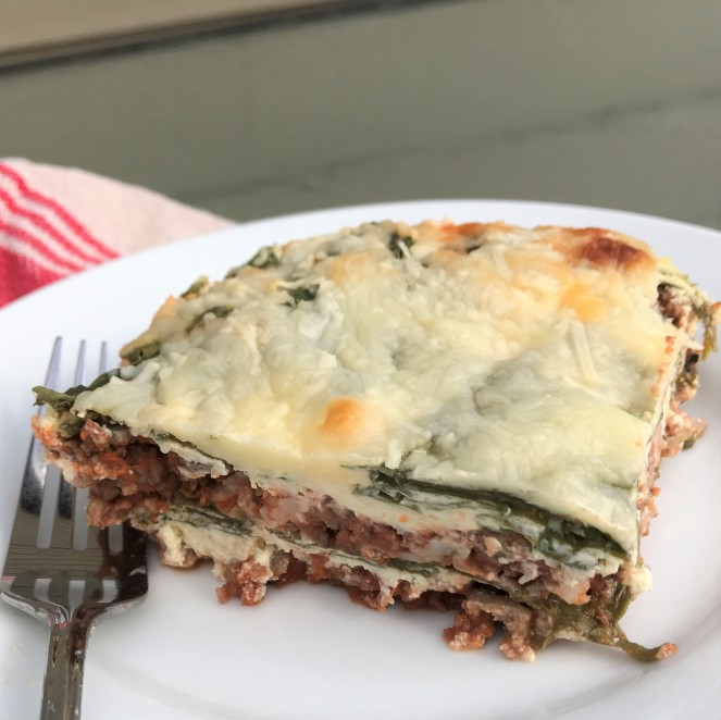 """Lazy"" Lo-Carb Spinach Lasagna"