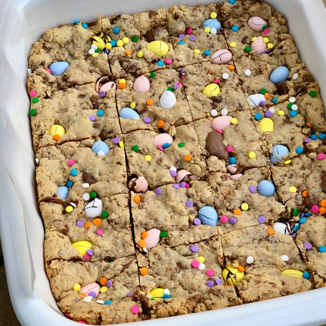 Easter Candy Peanut Butter Oatmeal Cookie Bars